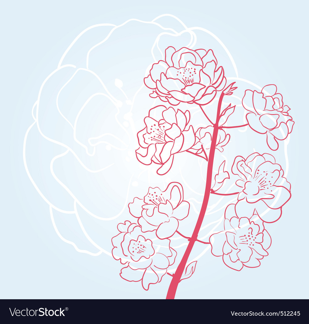 Sakura twig vector | Price: 1 Credit (USD $1)