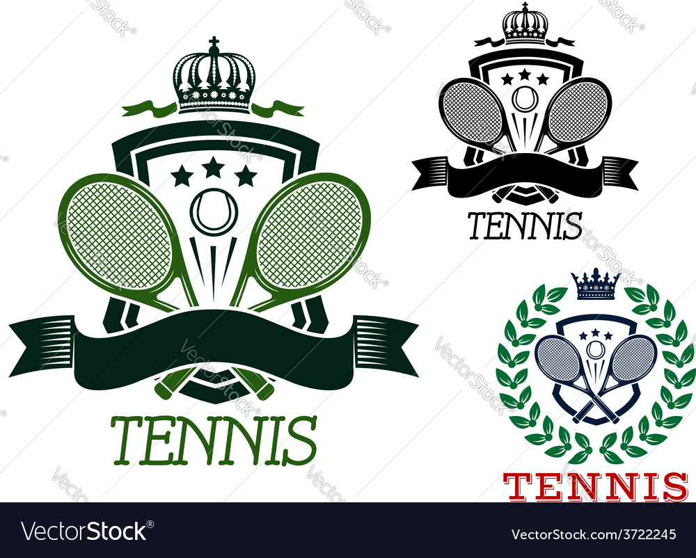 Tennis heraldic emblems on crowned shields vector | Price: 1 Credit (USD $1)