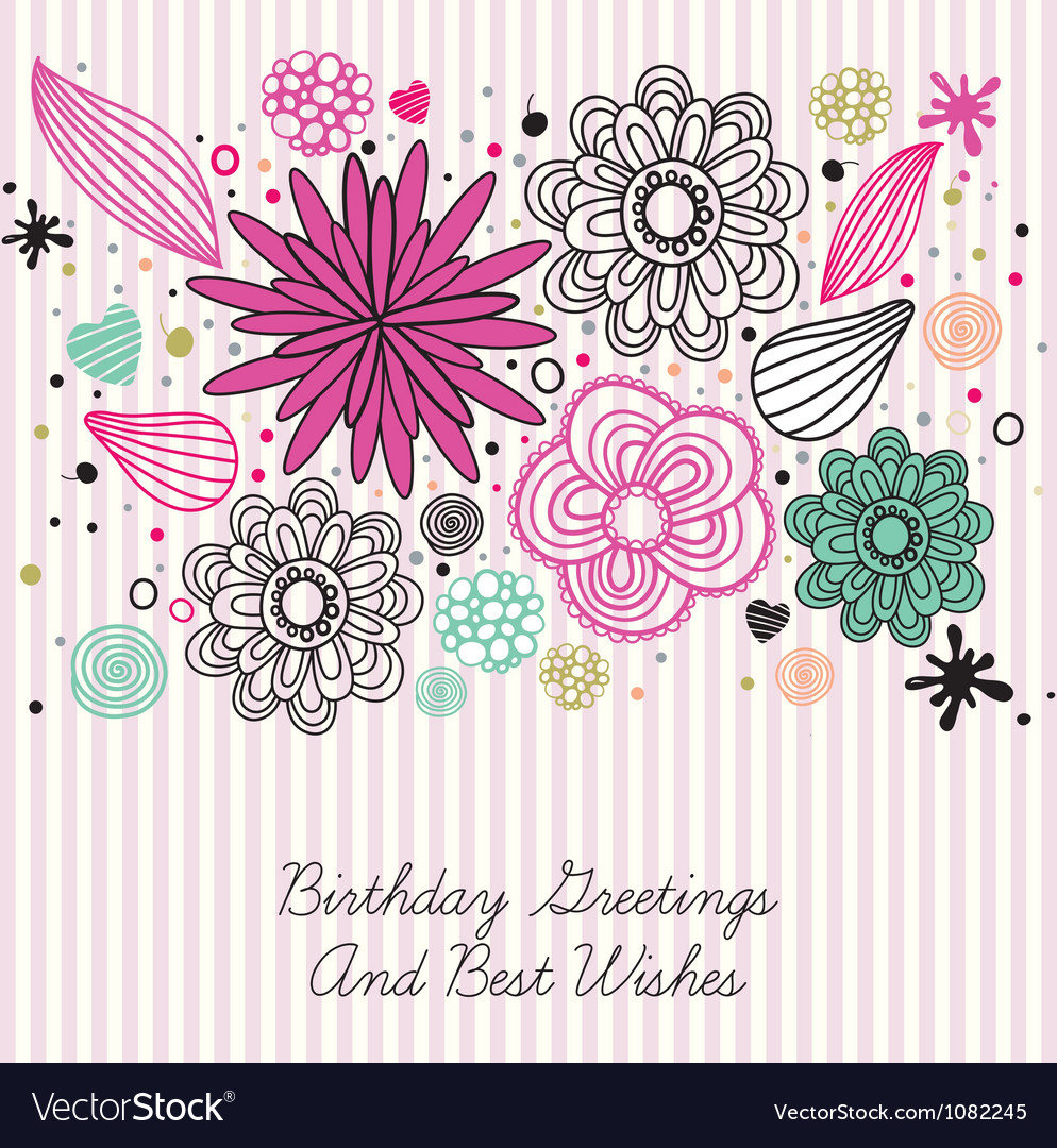 Vintage floral birthday card vector | Price: 1 Credit (USD $1)
