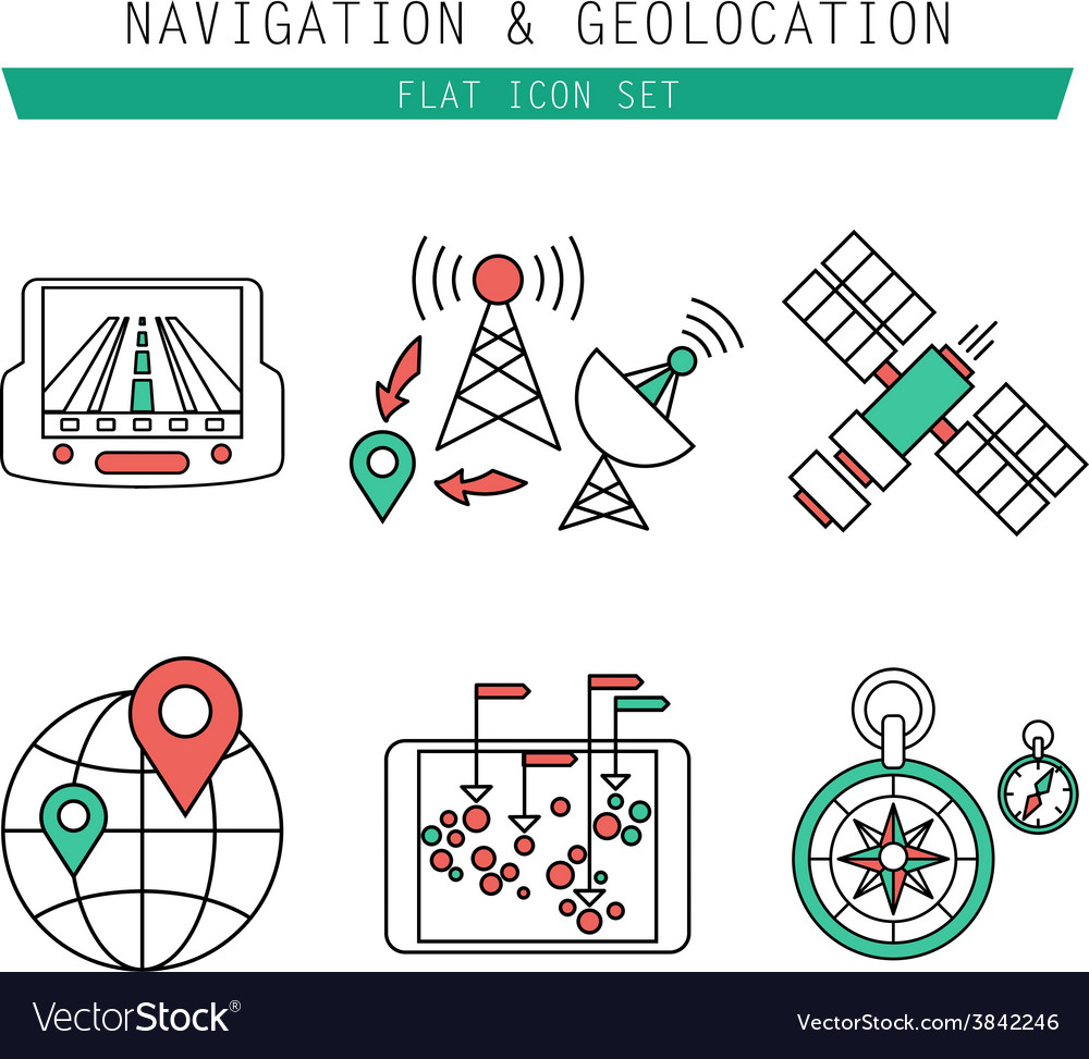 Different navigation icons set with rounded vector | Price: 1 Credit (USD $1)