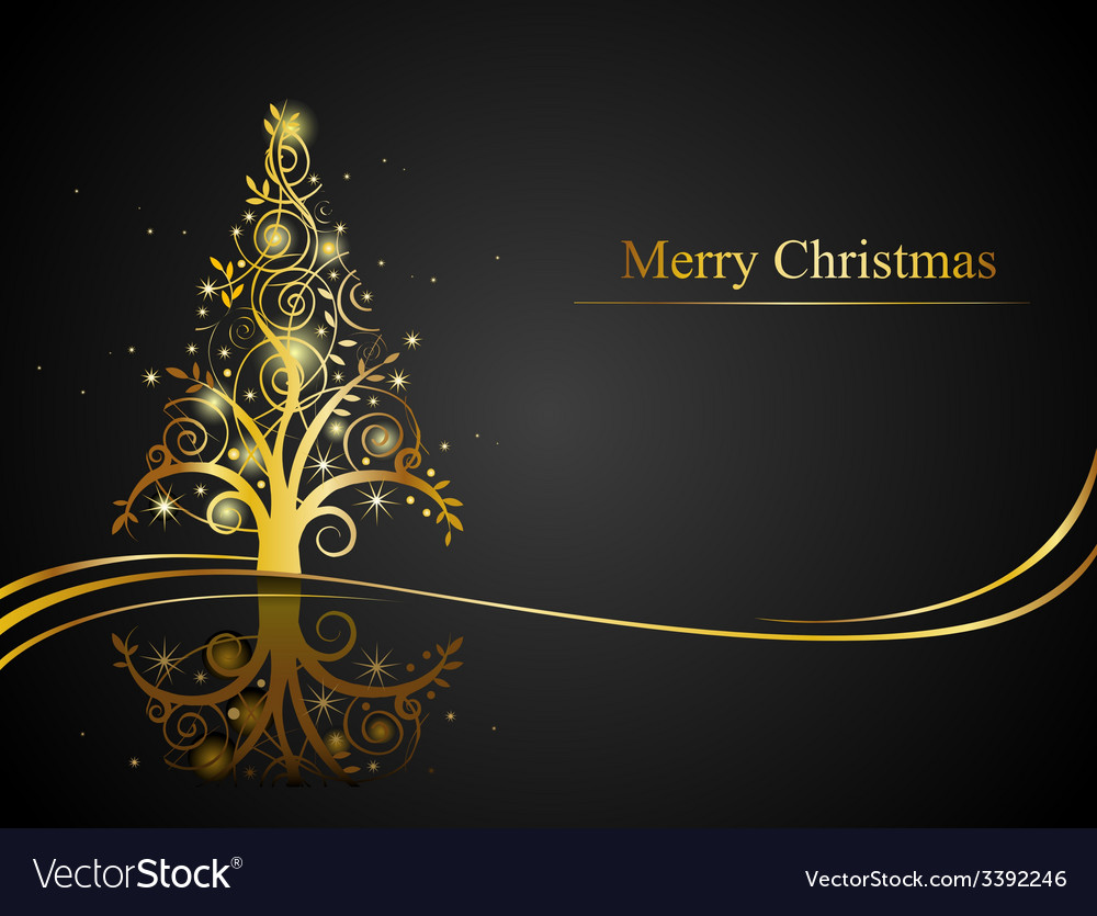 Modern golden christmas tree vector | Price: 1 Credit (USD $1)