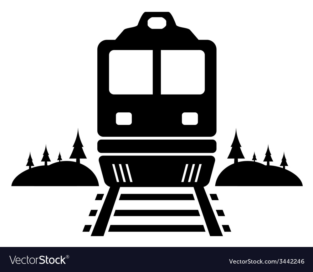 Rail road icon with moving train vector | Price: 1 Credit (USD $1)