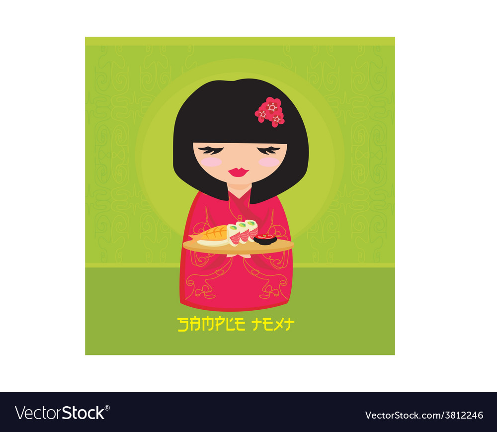 Sweet asian girl enjoy sushi vector | Price: 1 Credit (USD $1)