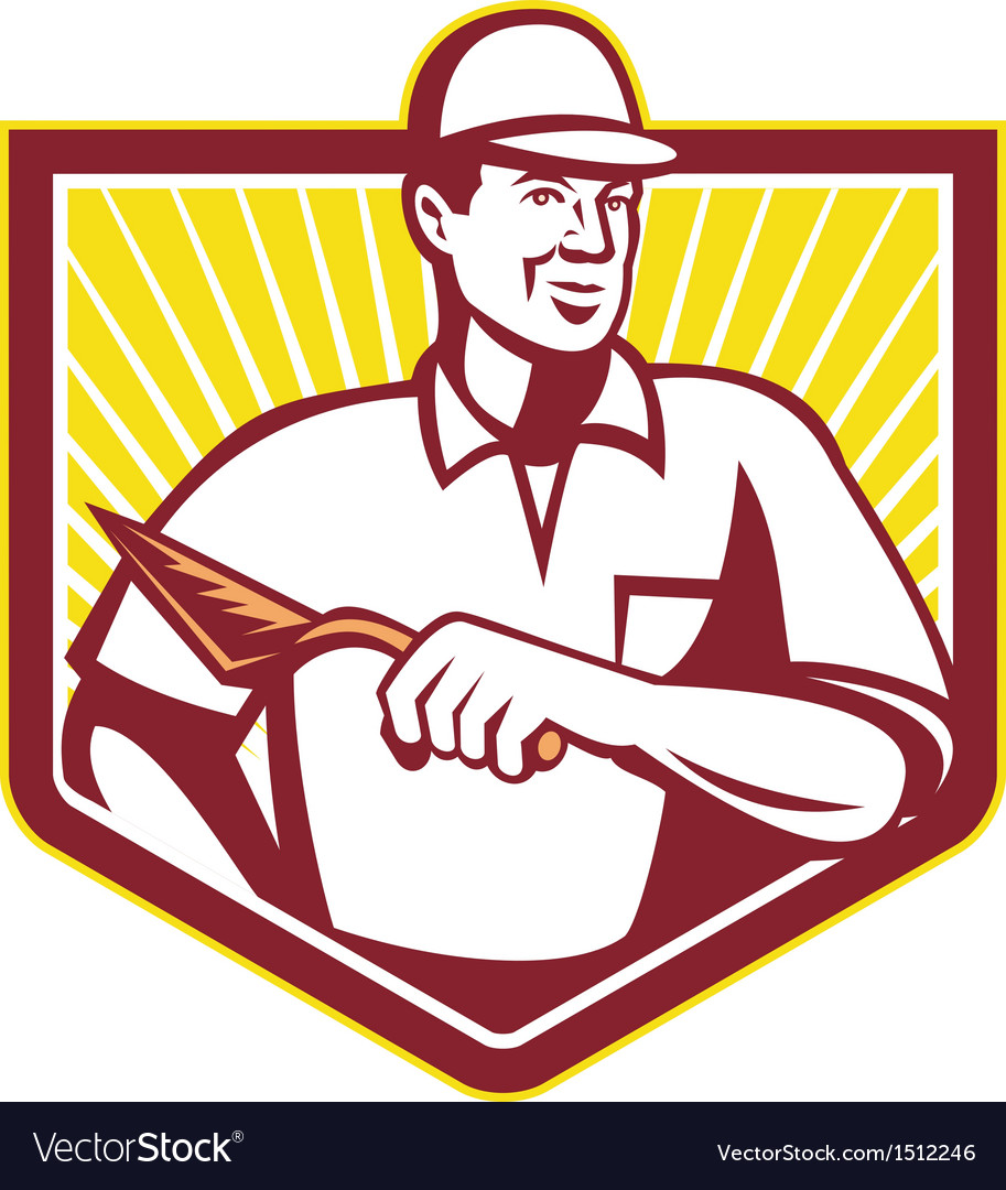 Tiler plasterer mason masonry worker retro vector | Price: 1 Credit (USD $1)