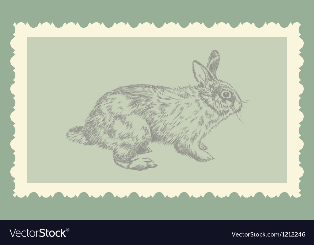 Vintage hand drawing rabbit vector | Price: 1 Credit (USD $1)