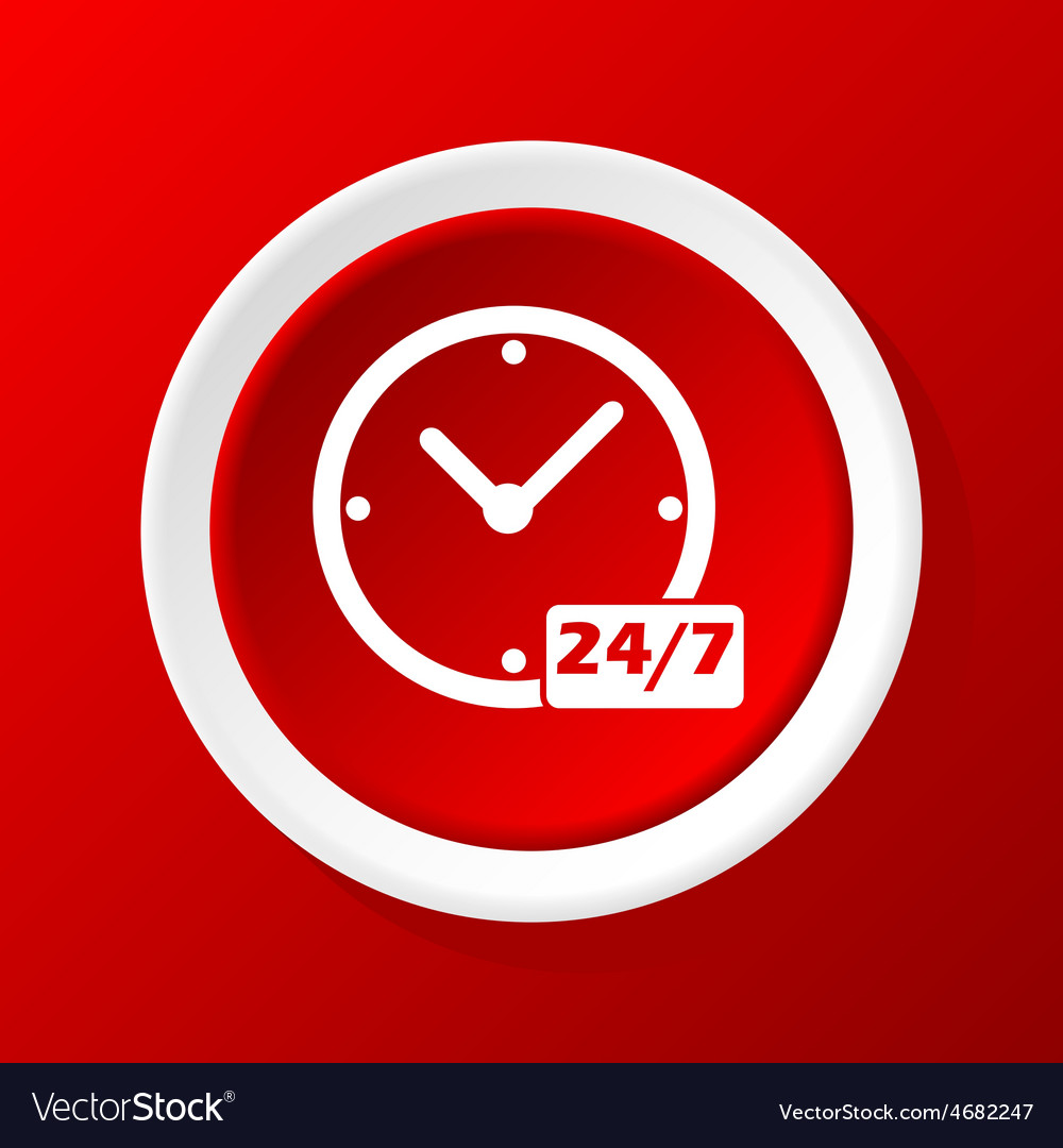 All hours icon on red vector | Price: 1 Credit (USD $1)