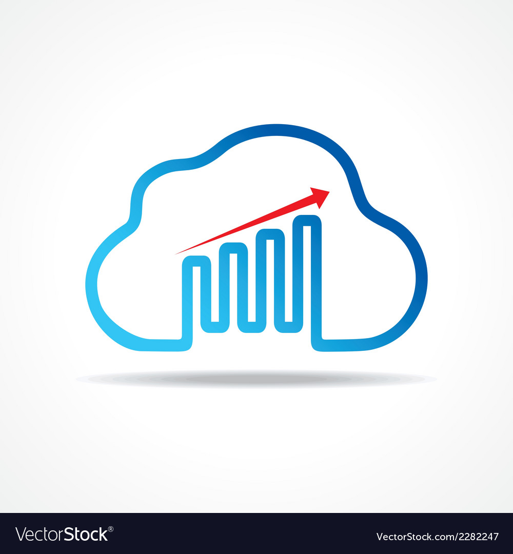 Business growth graph design with cloud design vector | Price: 1 Credit (USD $1)