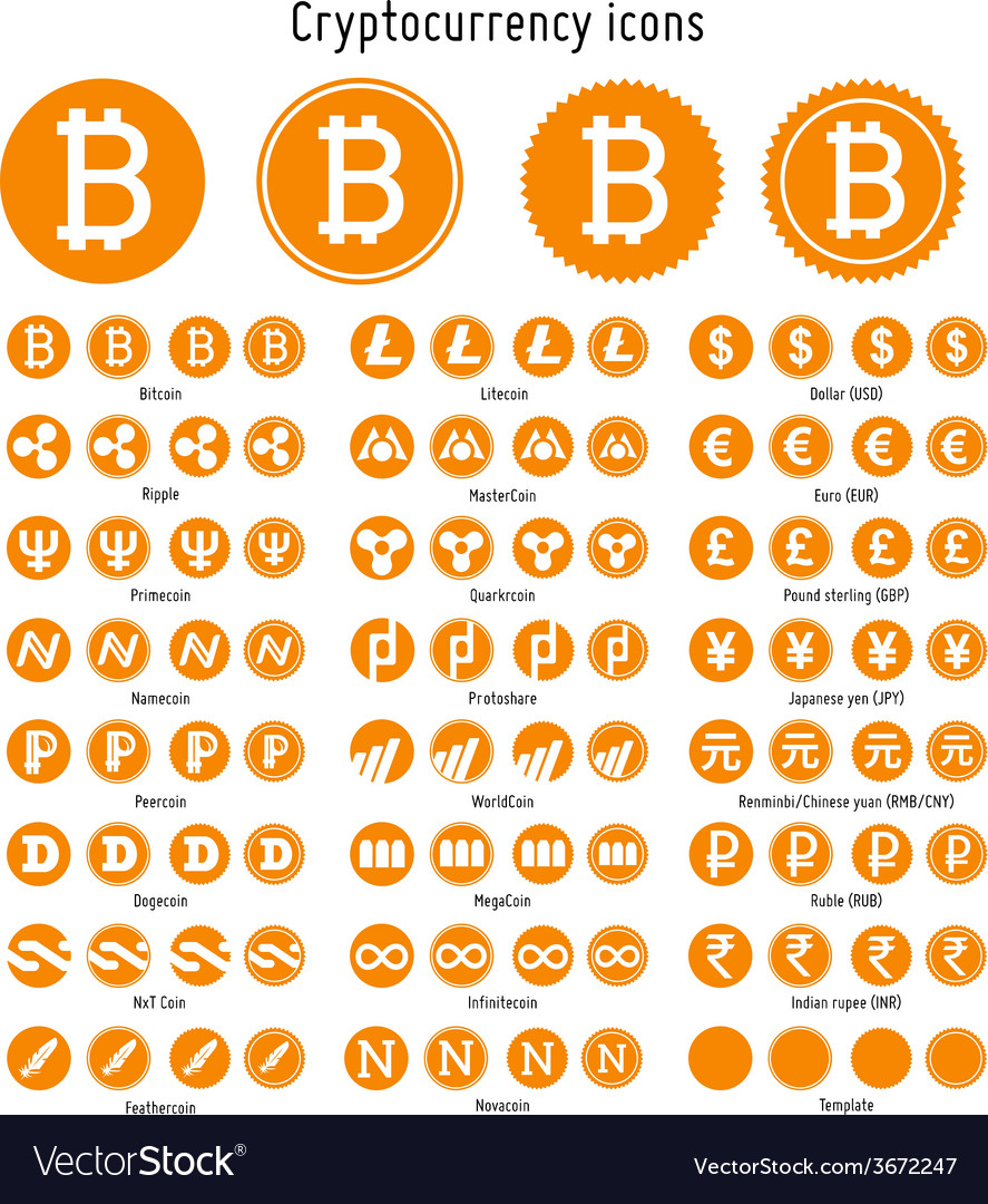 Cryptocurrency icons vector | Price: 1 Credit (USD $1)