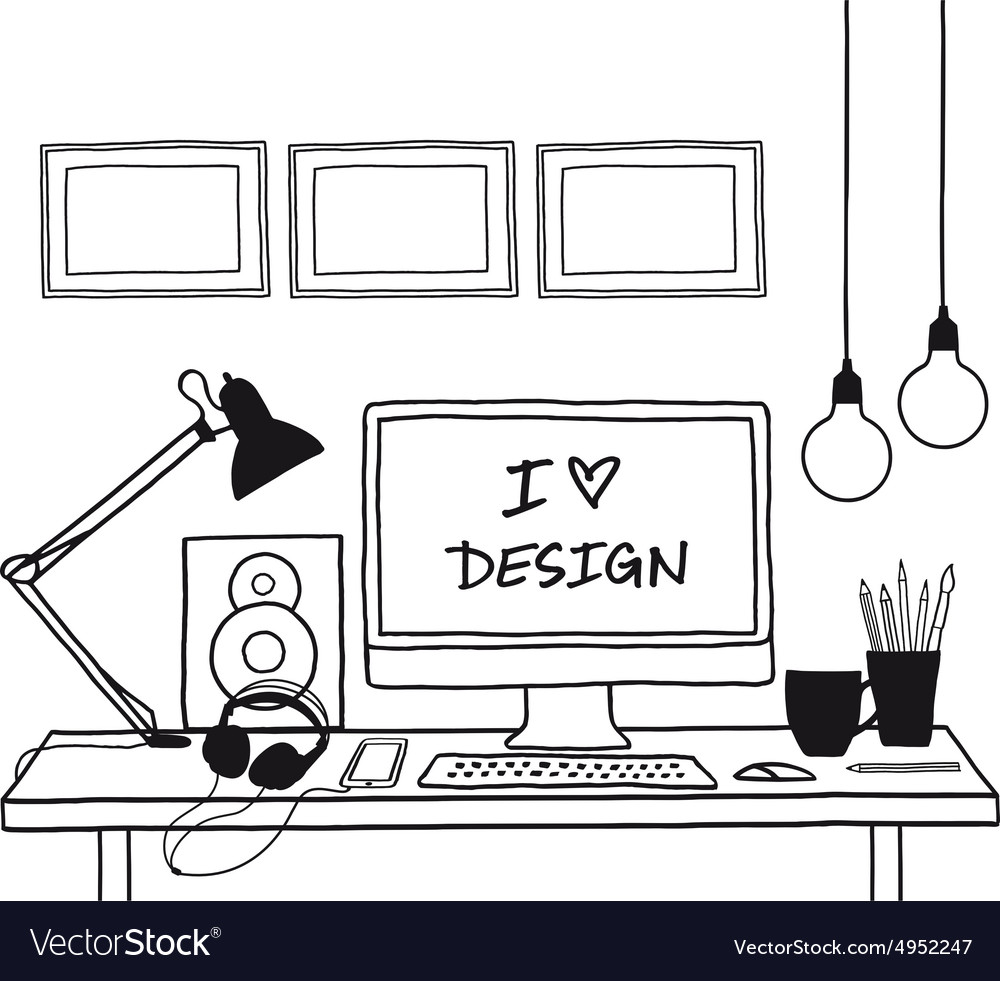 Design studio mock up vector