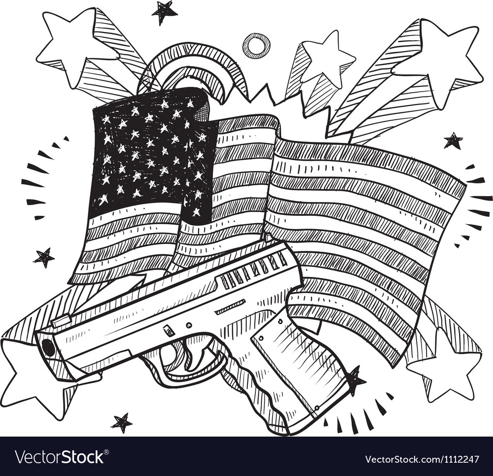 Doodle americana gun bw vector | Price: 1 Credit (USD $1)