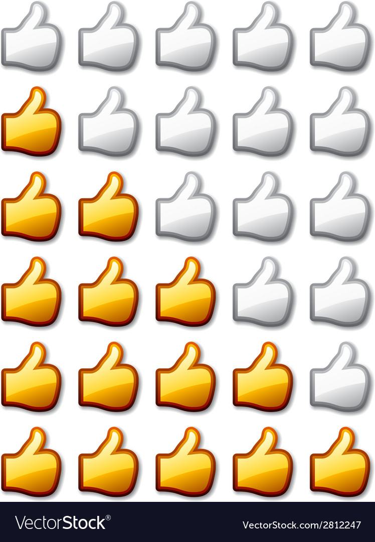 Golden rating thumb up hands vector | Price: 1 Credit (USD $1)