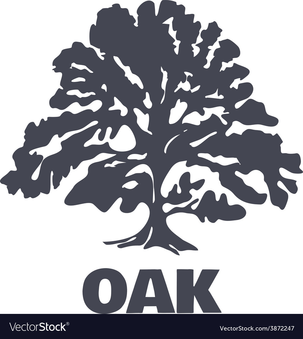 Oak tree logo silhouette vector | Price: 1 Credit (USD $1)