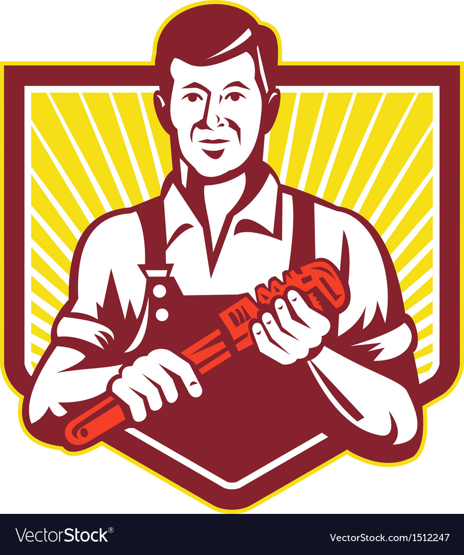 Plumber holding monkey wrench vector | Price: 1 Credit (USD $1)