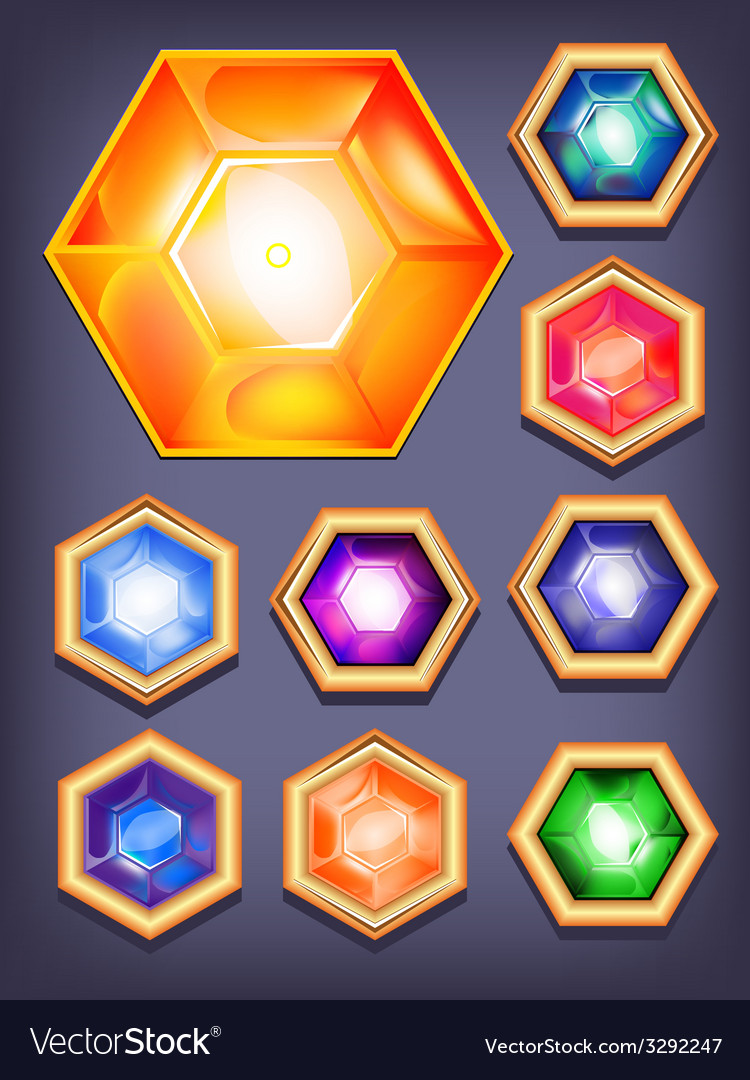 Set of colorful shiny jewels vector   Price: 1 Credit (USD $1)