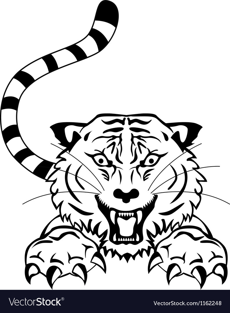 Angry tiger tattoo vector | Price: 1 Credit (USD $1)