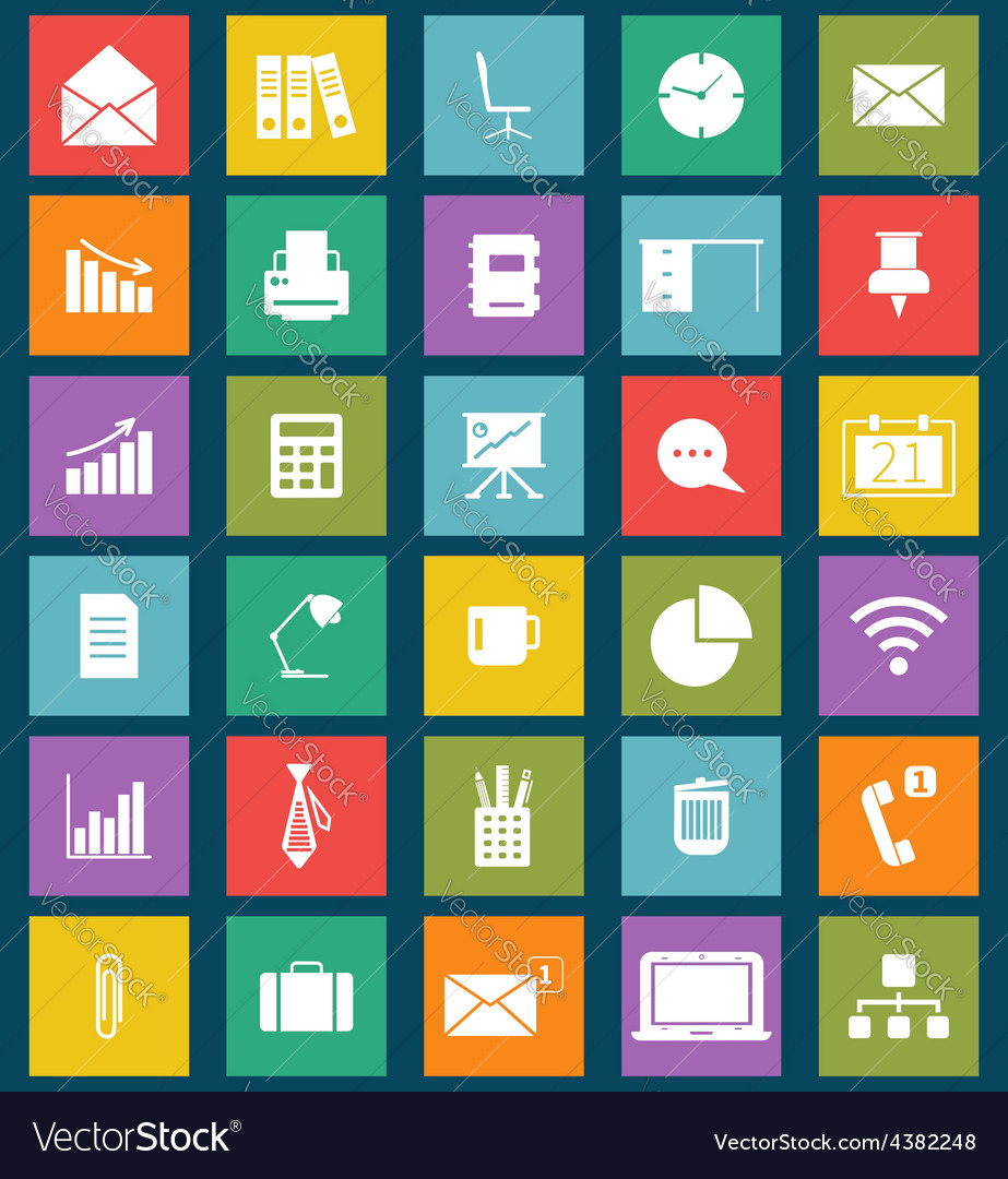 Business and office flat icons for web and mobile vector | Price: 1 Credit (USD $1)