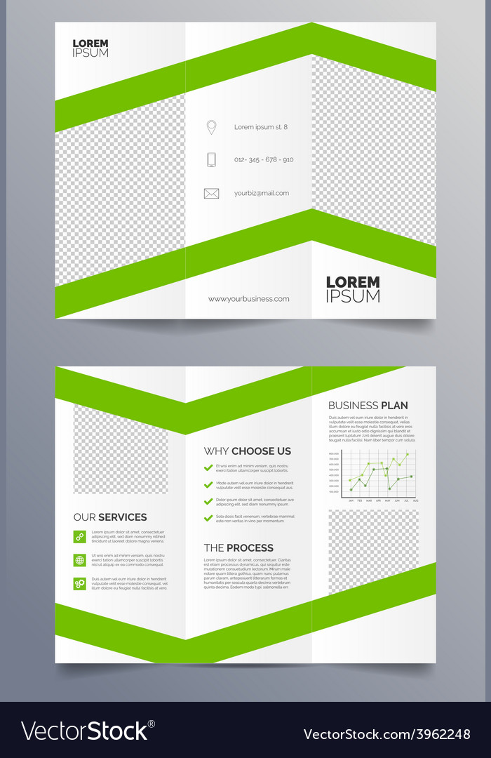 Business trifold brochure template - green vector | Price: 1 Credit (USD $1)