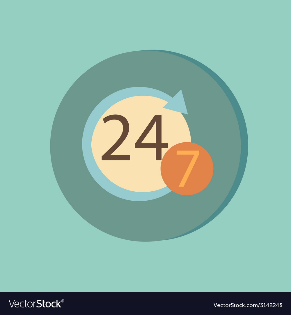Character 24 7 symbol icon clock service vector   Price: 1 Credit (USD $1)