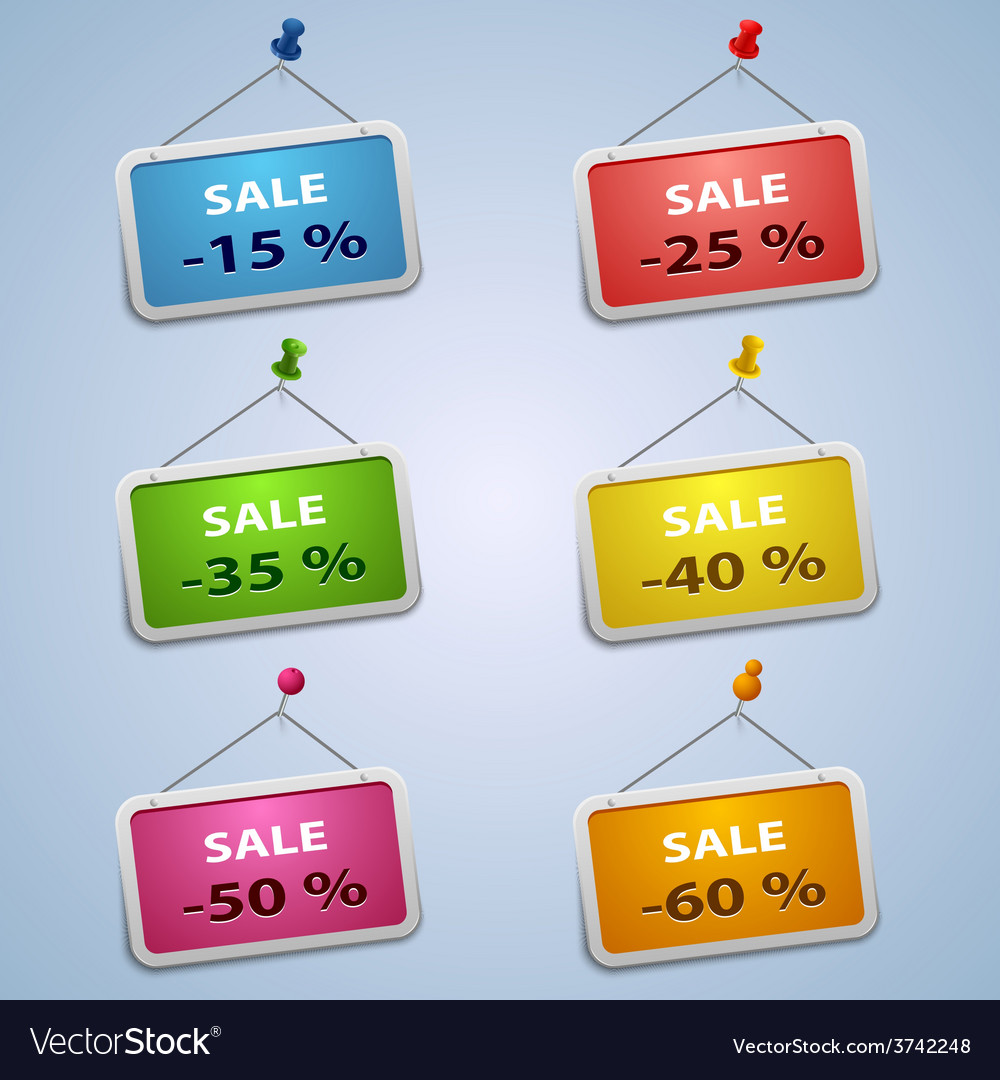 Colorful labels with pins sale discount template vector | Price: 1 Credit (USD $1)