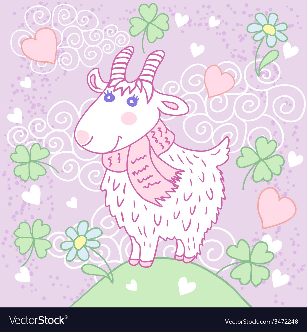 Cute goat on a meadow vector | Price: 1 Credit (USD $1)