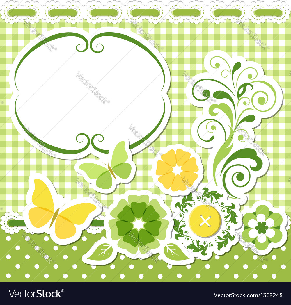 Floral scrapbook green set vector | Price:  Credit (USD $)