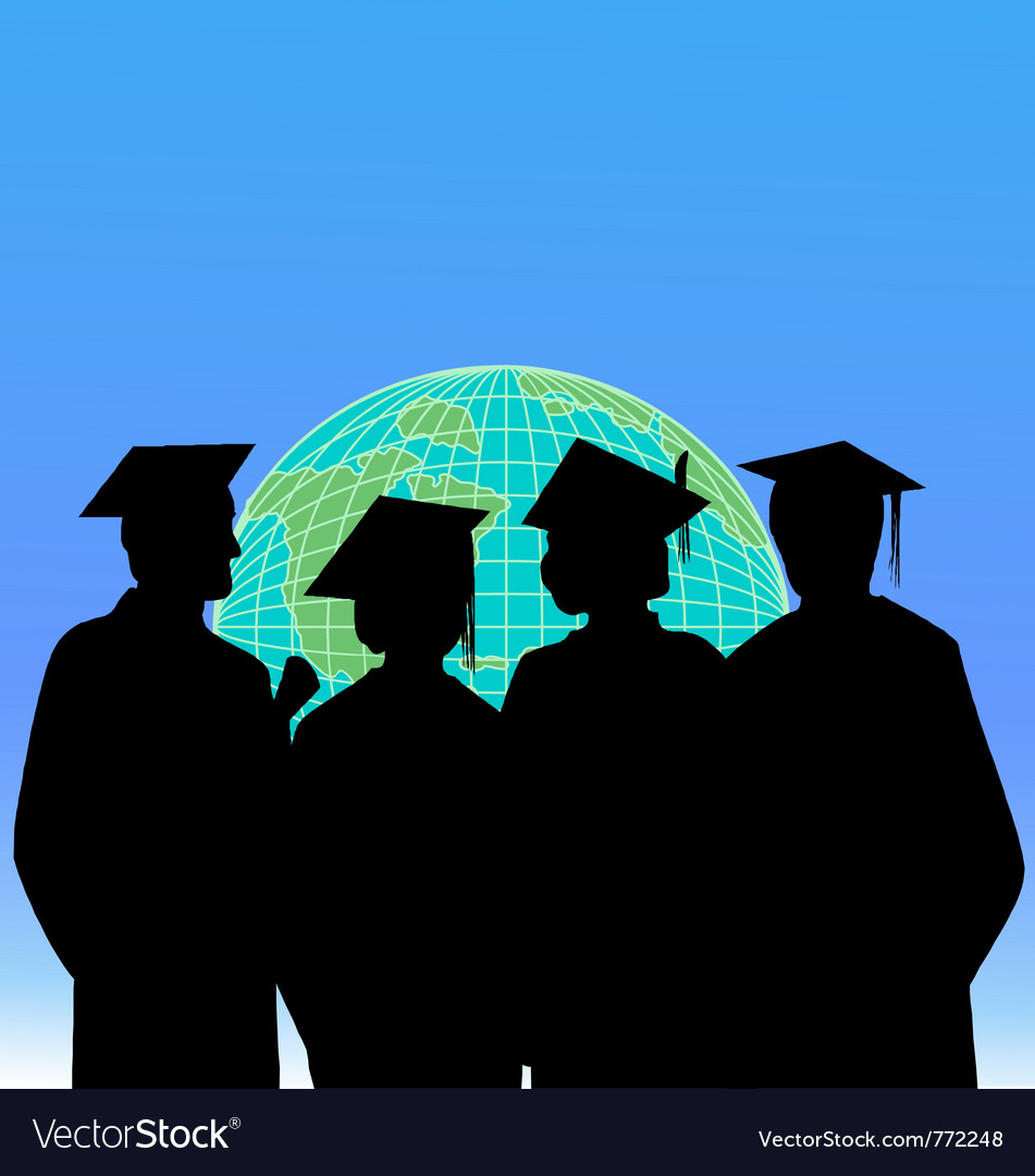 Graduates and the world vector | Price: 1 Credit (USD $1)