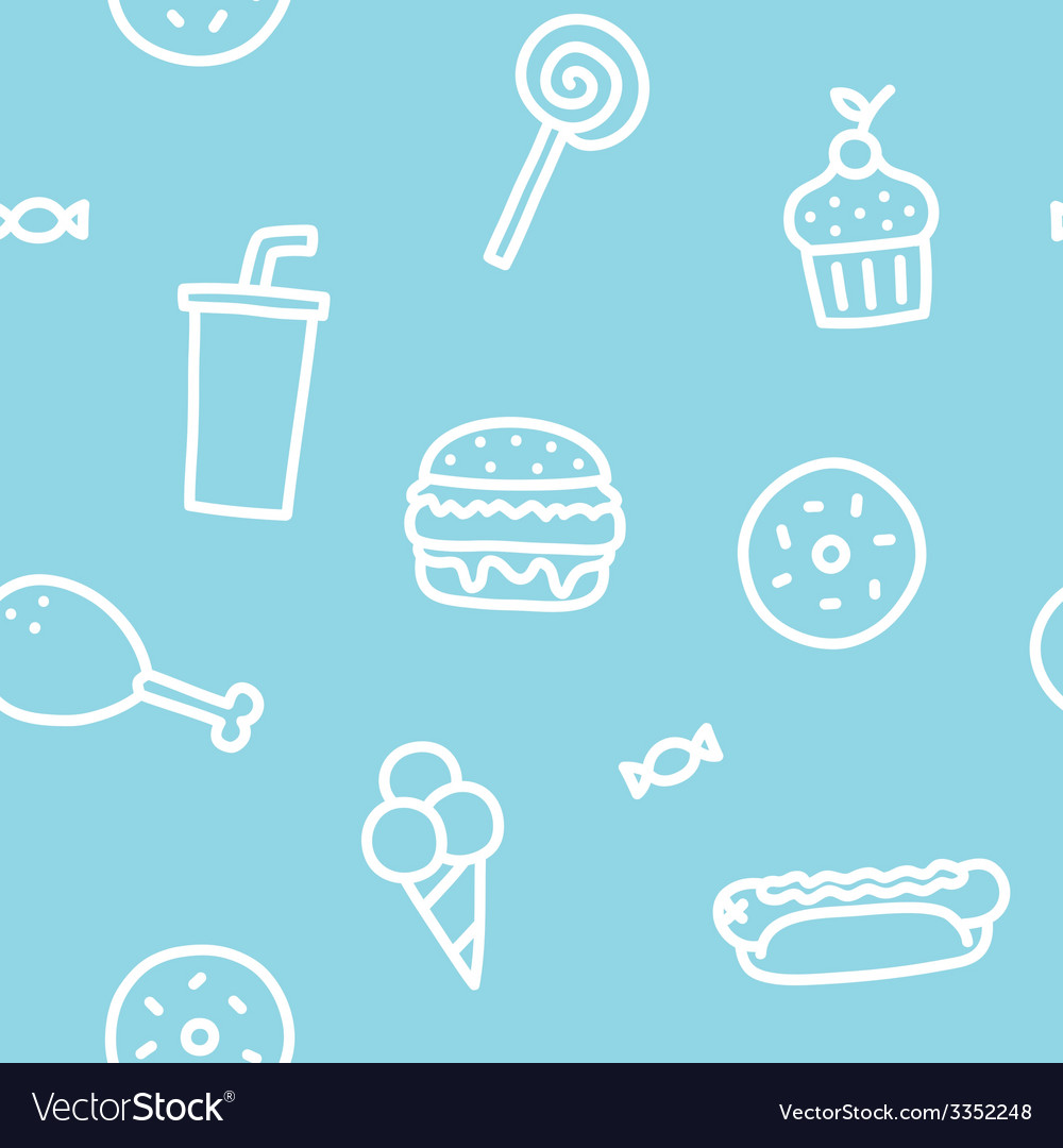 Junk food blue seamless pattern vector | Price: 1 Credit (USD $1)