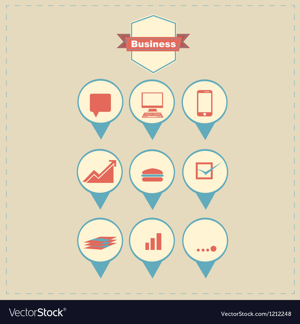Retro business icons vector | Price: 1 Credit (USD $1)