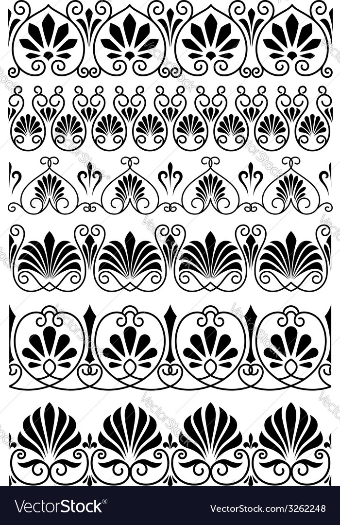 Vintage black and white ornamental borders vector | Price: 1 Credit (USD $1)