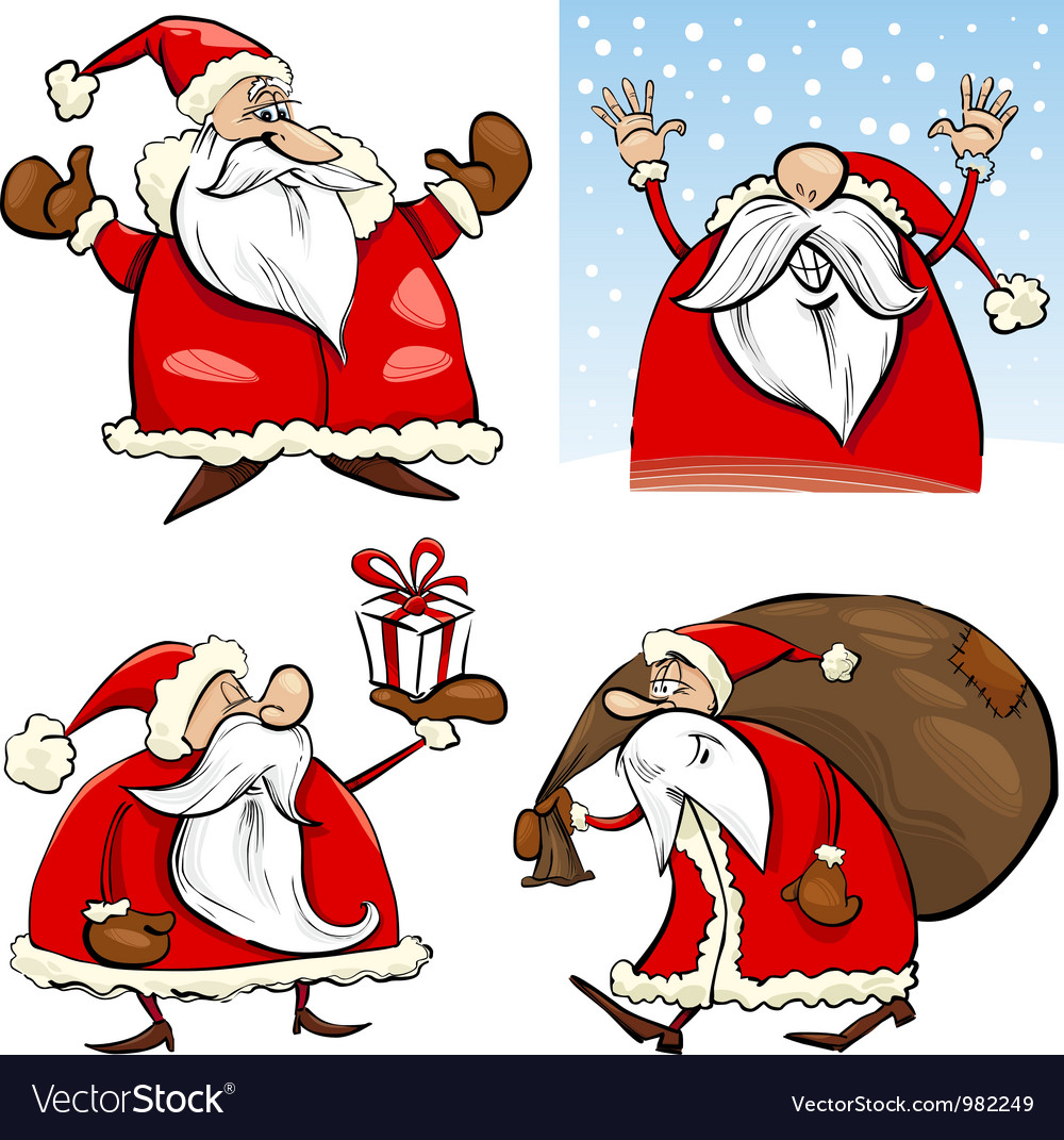 Cartoon christmas santa clauses set vector | Price: 3 Credit (USD $3)