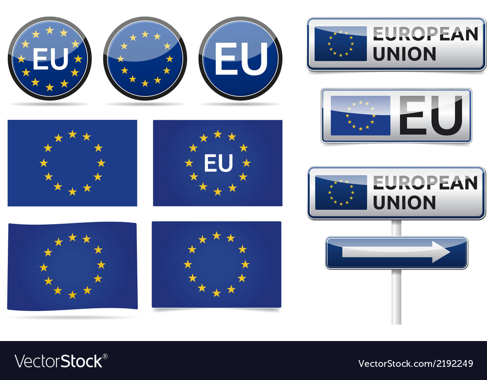 European eu flag collection vector | Price: 1 Credit (USD $1)
