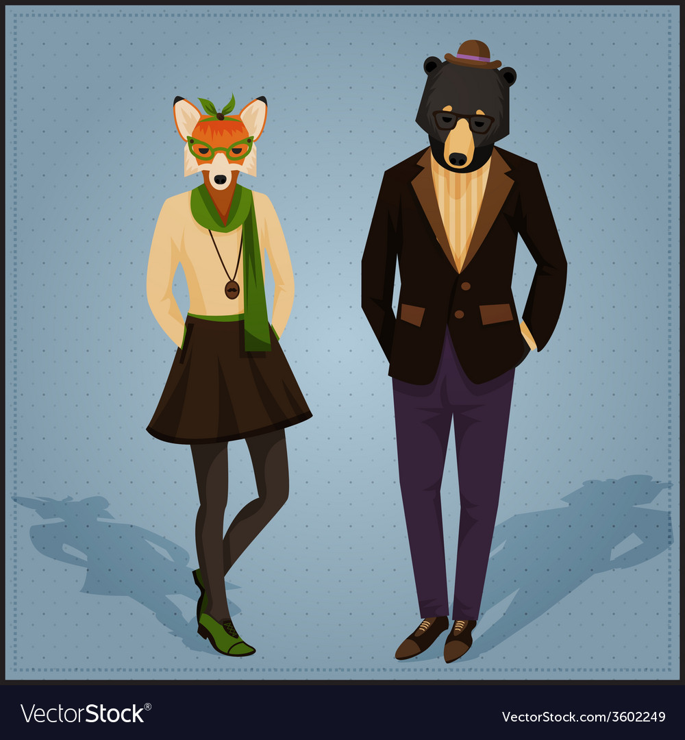 Fashion hipster animals couple vector | Price: 1 Credit (USD $1)