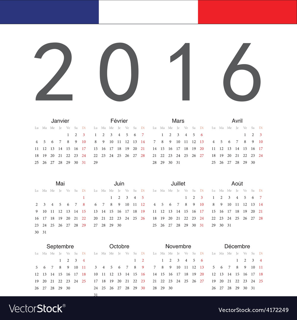 French square calendar 2016 vector | Price: 1 Credit (USD $1)