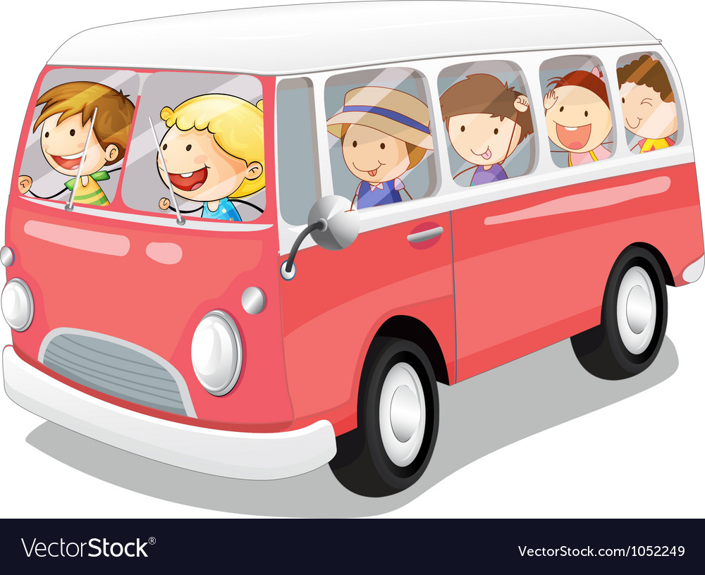 Kids in a bus vector | Price: 3 Credit (USD $3)