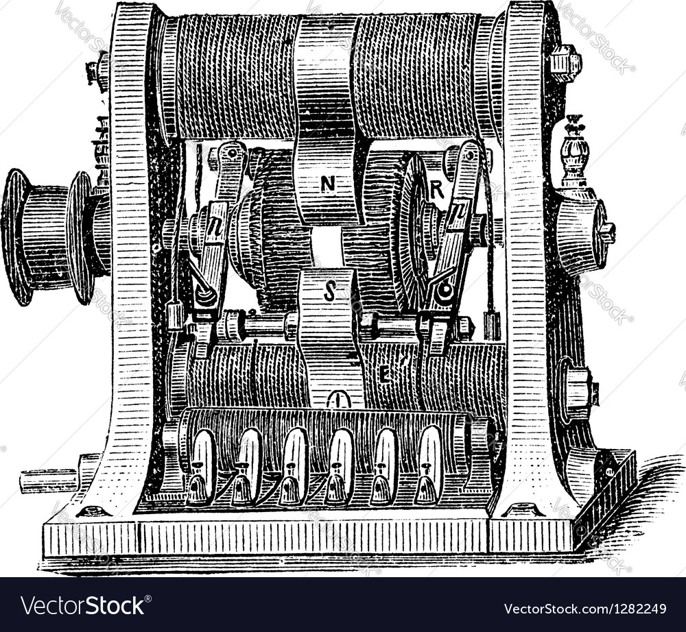 Machine program vintage engraving vector | Price: 1 Credit (USD $1)