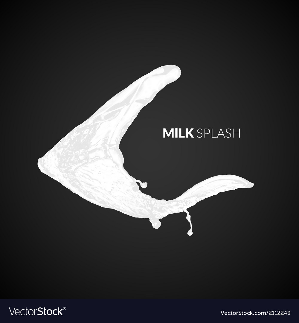 Milk splash isolated on black background vector | Price: 1 Credit (USD $1)