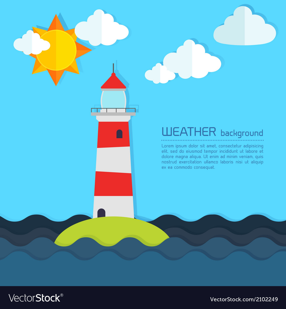 Modern weather background with lighthouse sun and vector | Price: 1 Credit (USD $1)