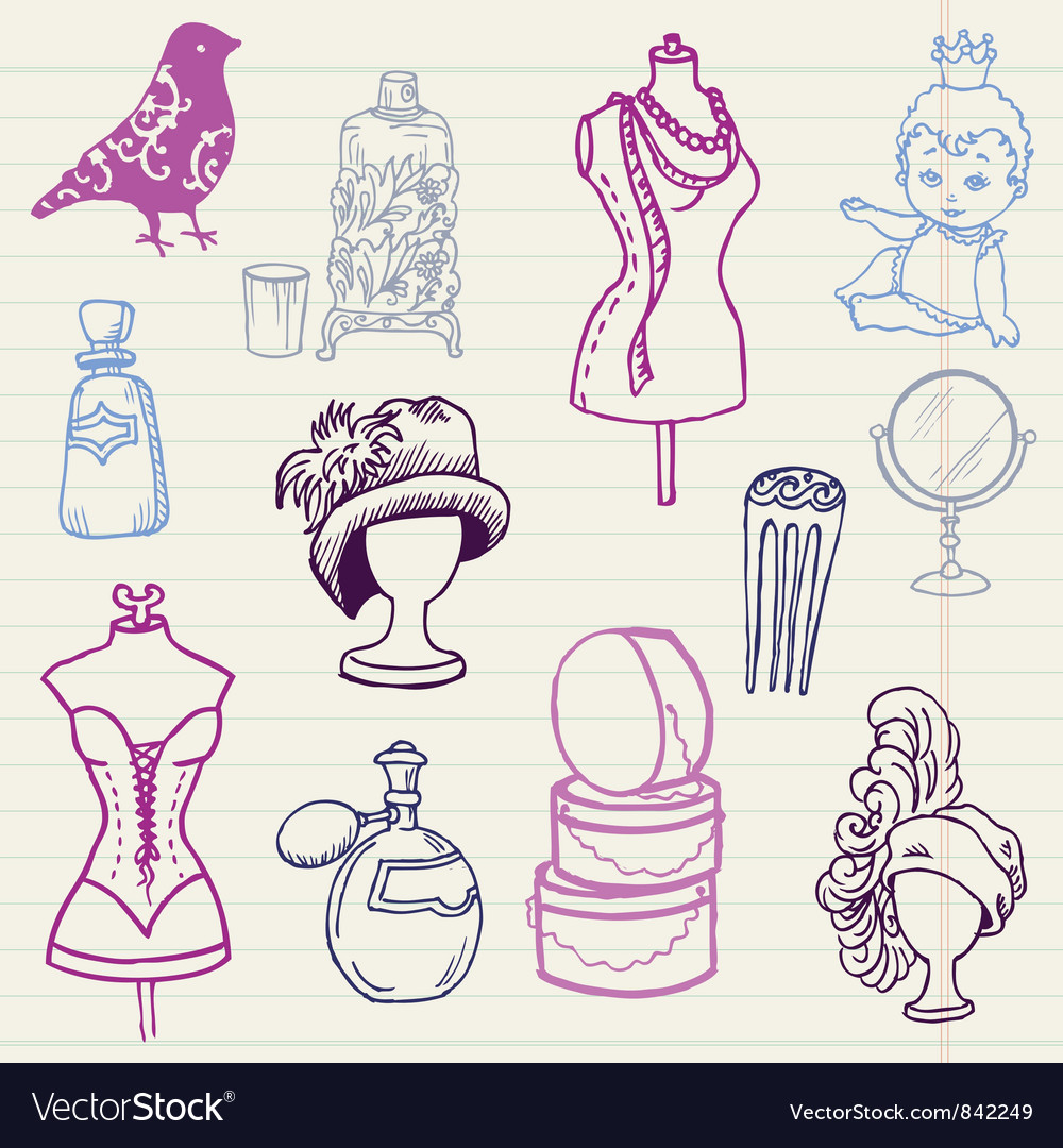 Set of fashion hand drawn doodles vector | Price: 1 Credit (USD $1)