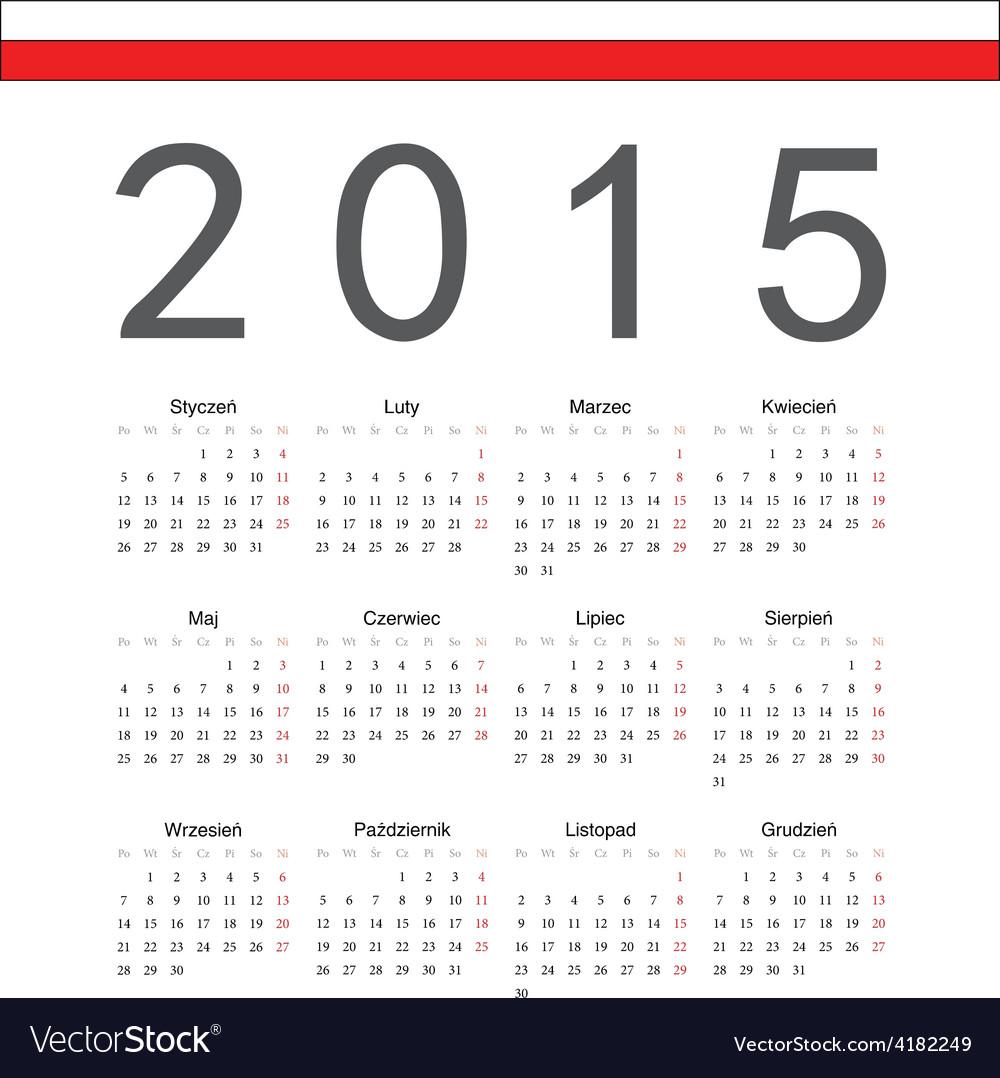 Square polish 2015 year calendar vector | Price: 1 Credit (USD $1)