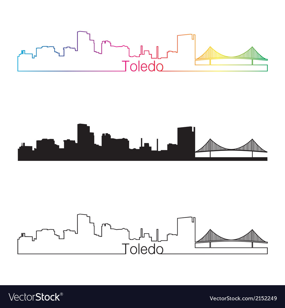 Toledo oh skyline linear style with rainbow vector | Price: 1 Credit (USD $1)