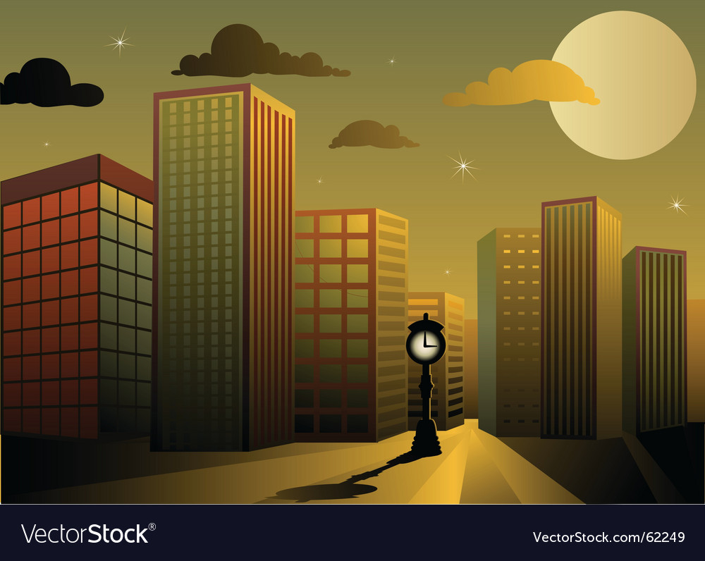 Twilight city vector | Price: 1 Credit (USD $1)