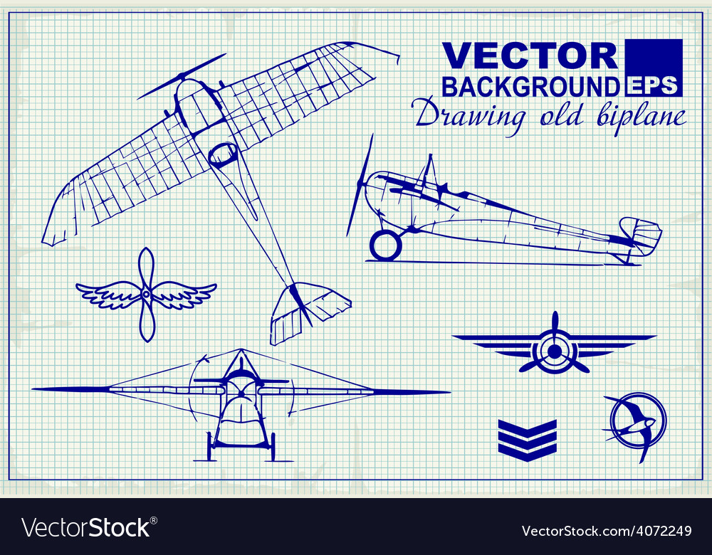 Vintage airplanes drawing on graph paper vector   Price: 1 Credit (USD $1)