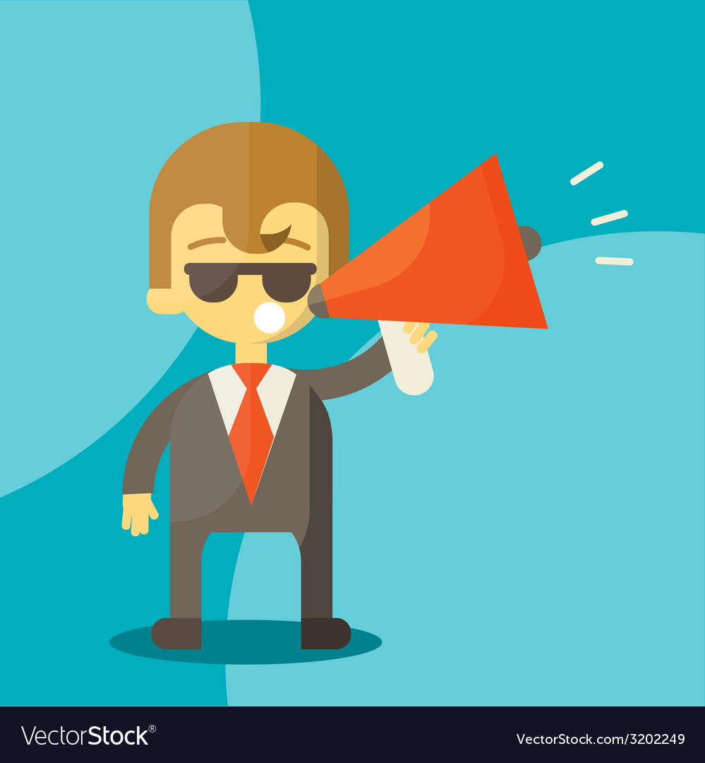Young businessman with a megaphone vector | Price: 1 Credit (USD $1)