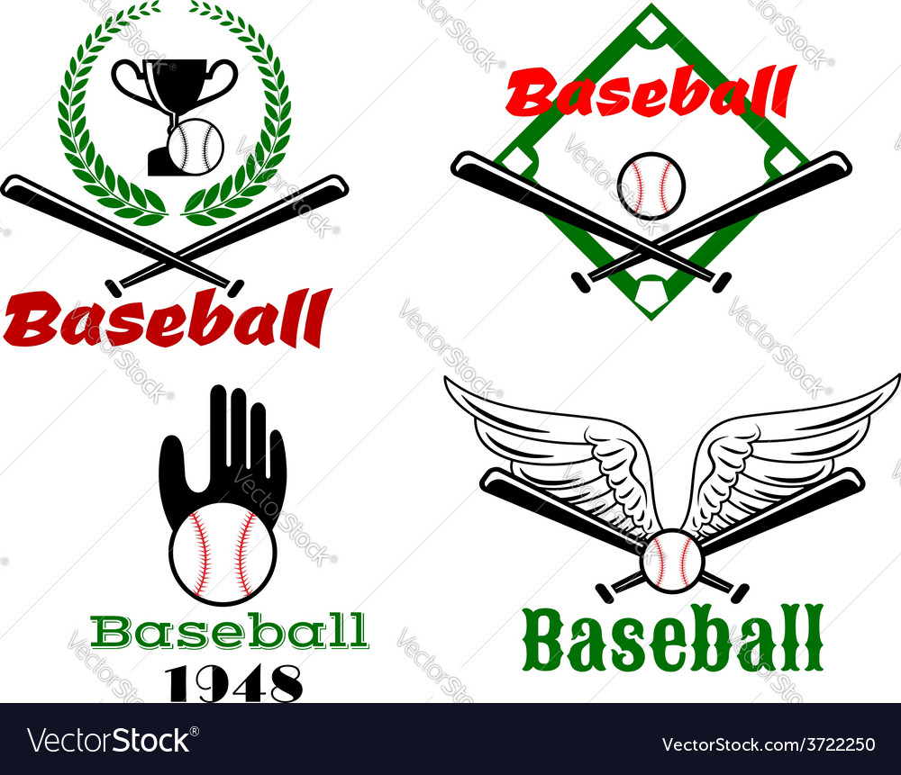 Baseball emblems with crossed bats and balls vector | Price: 1 Credit (USD $1)