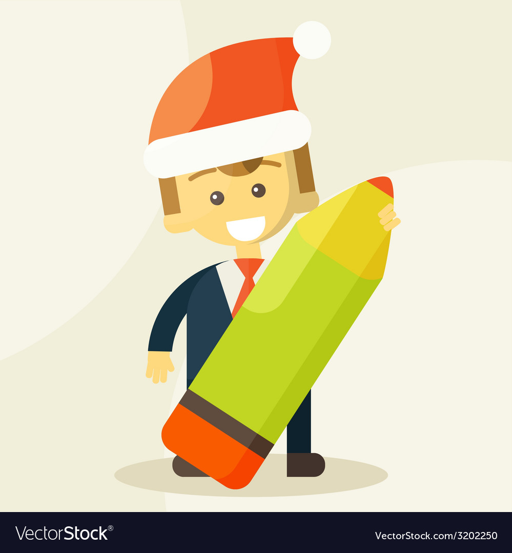 Businessman holding a pencil and christmas hat vector | Price: 1 Credit (USD $1)
