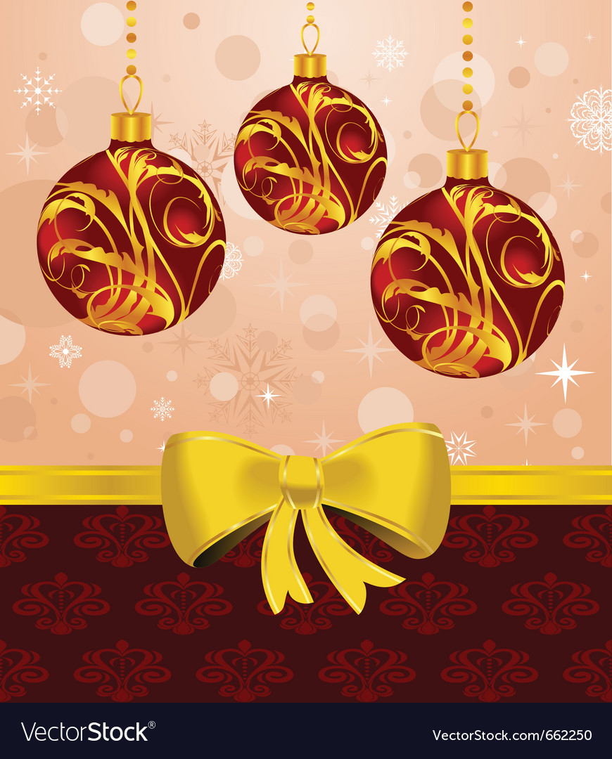 Christmas card or background with set balls - vector | Price: 1 Credit (USD $1)