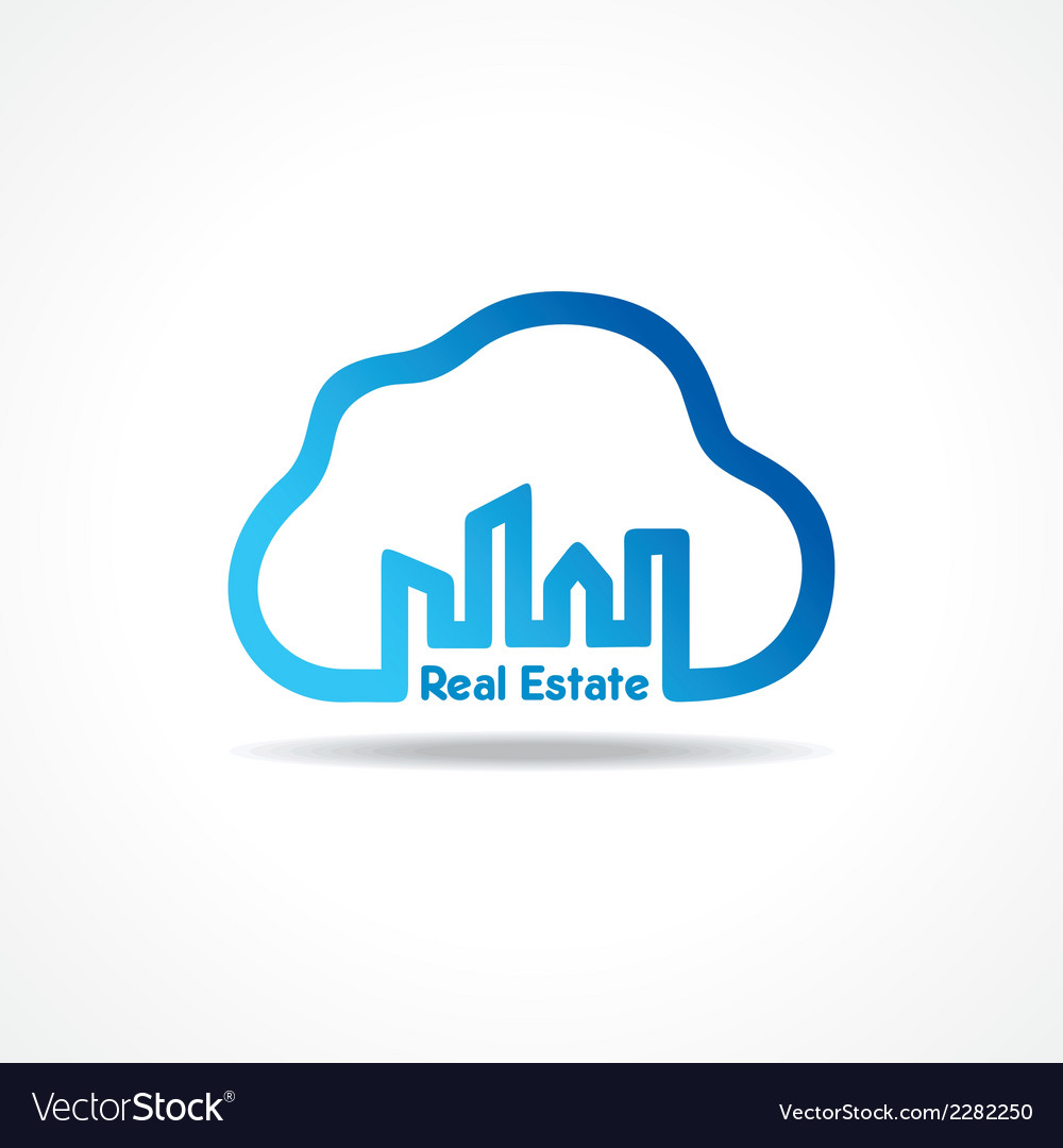 Creative city building icon attach with cloud vector | Price: 1 Credit (USD $1)