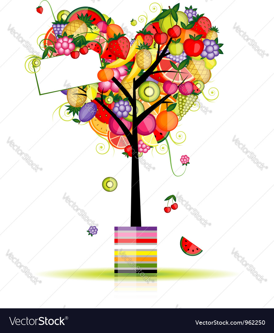 Fruit tree in shape of heart for your design vector | Price: 1 Credit (USD $1)