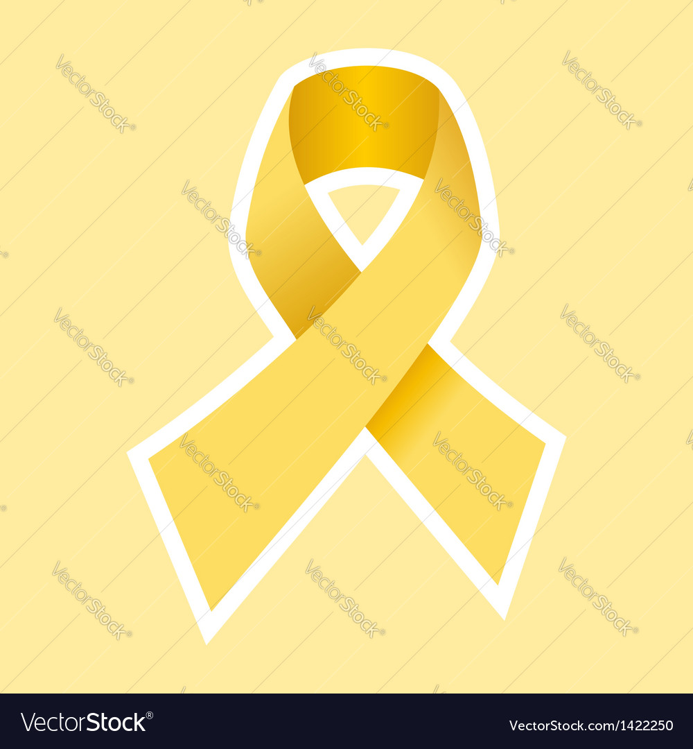 Gold cancer ribbon vector | Price: 1 Credit (USD $1)