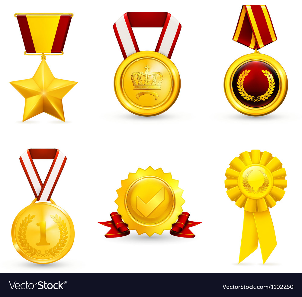 Gold medal set vector | Price: 3 Credit (USD $3)